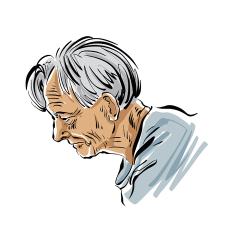 hoary: Hand drawn old man illustration on white background, grey-haired person. Illustration