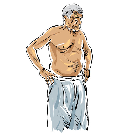 hoary: Hand drawn old man illustration on white background, grey-haired man.