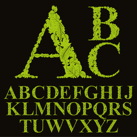 u  k: Floral font made with leaves, natural alphabet letters set, vector design. Illustration