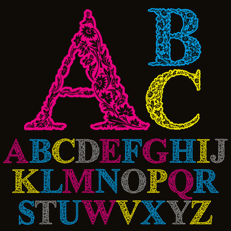verbs: Beautiful floral letters font, vector alphabet.