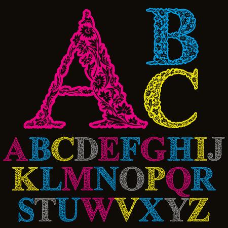 floral letters: Beautiful floral letters font, vector alphabet.