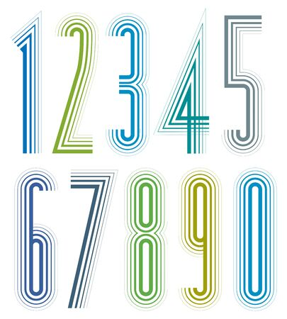 Geometric colorful tall decorative striped numbers.