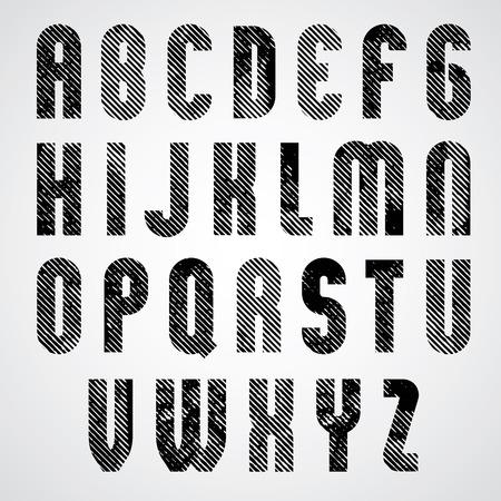 Grunge black grated upper case letters, mystique font on white background. Vector