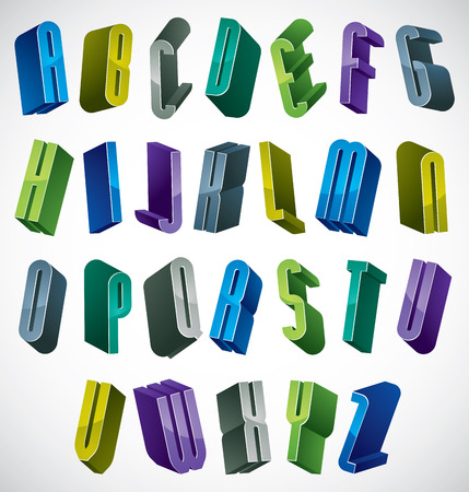 verbs: 3d colorful letters alphabet, dimensional font in blue and green colors, bright and glossy letters for design and advertising. Illustration