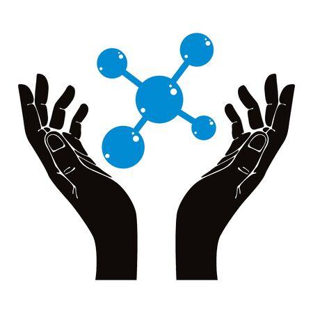 Hands with molecule vector symbol. Stock Vector - 29722775