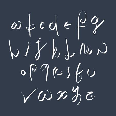 verb: Escrito a mano fuente vectorial frescos, elegantes letras del alfabeto Conjunto drenado.