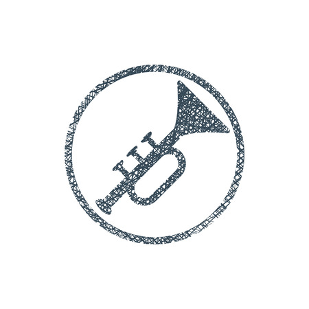 Vector icon of trumpet with hand drawn lines texture. Vector