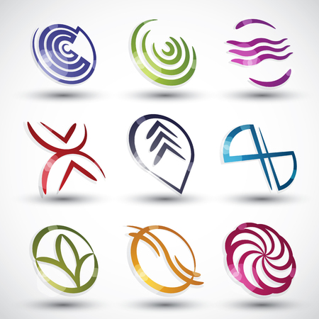 Abstract contemporary style icons, 3d designs vector set, round symbols collection. Vector