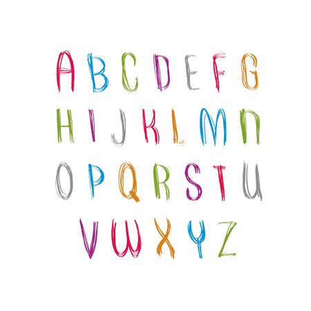 Hand Written Fresh Vector Font, Stylish Drawn Alphabet Letters