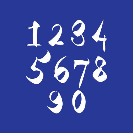 estimating: Scribble handwritten numbers, vector fresh brushed figures. Illustration