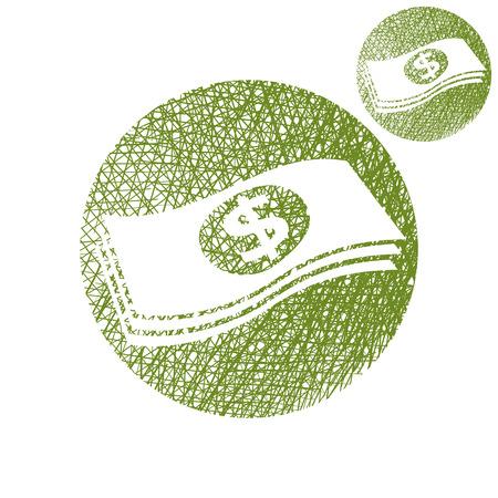 stack of cash: D�lares de dinero en efectivo pila simple vector icono de color �nico aislado en fondo blanco con textura de dibujado a mano forrado boceto. Vectores