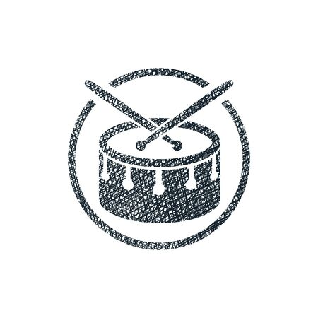 plywood: Snare drum musical vector icon with hand drawn lines texture.