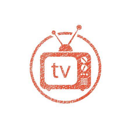 outmoded: Retro tv set vector icon with hand drawn lines texture. Illustration