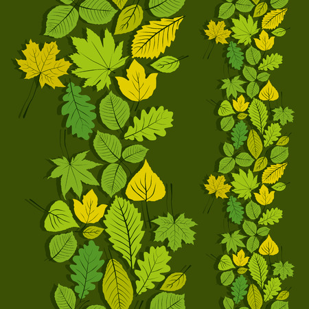 Leaves seamless wallpaper background, vector natural endless pattern, spring background. Vector