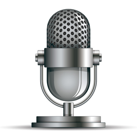 microfono de radio: Icono de micrófono, ilustración vectorial.