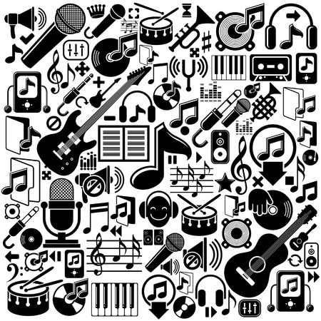 musical score: Set of musical elements, vector black isolated musical icons.