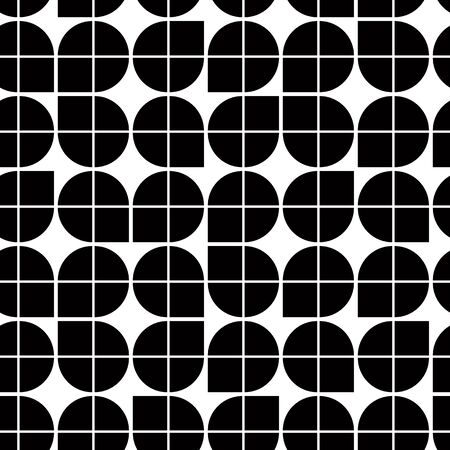 illusory: Black and white abstract geometric seamless pattern, contrast illusory regular background.