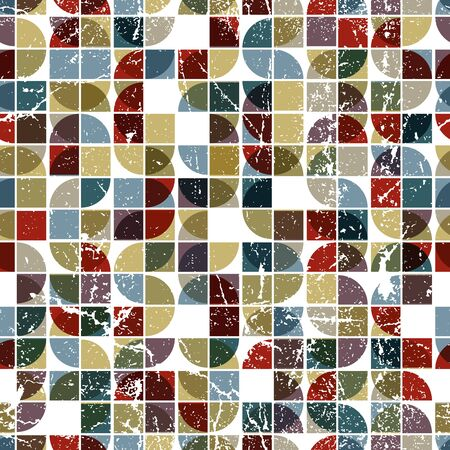 covering cells: Vector geometric textile abstract seamless pattern, spotted frayed mosaic canvas.