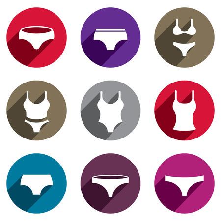 girls underwear: Mujer underwear vector icon set. Vectores