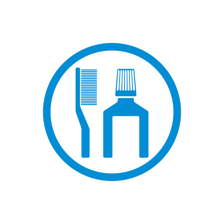 preening: Tooth brush and paste vector icon isolated.