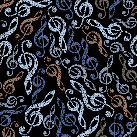 clefs: Music theme seamless vector background, seamless pattern with clefs, hand drawn lines textured.