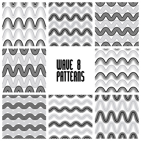 Waves black and white seamless patterns set, geometric vector backgrounds collection. Vector