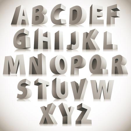 立っている大きな白い文字 3 D フォント  イラスト・ベクター素材