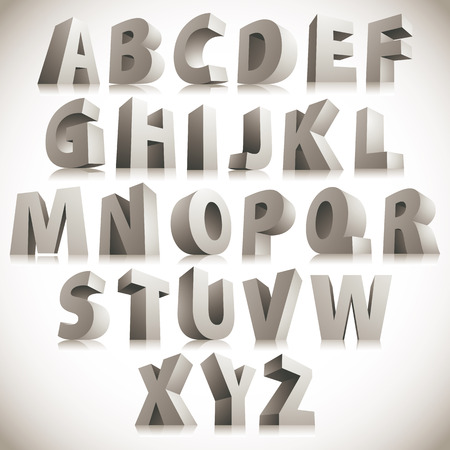letters of the alphabet: 3D font, big white letters standing