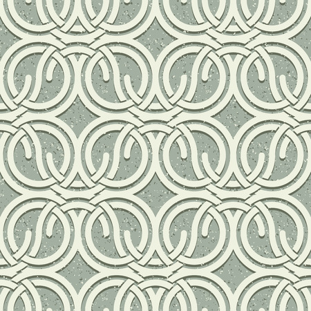 netting: Seamless vintage style circles and waves netting pattern with grunge texture, vector background. Illustration