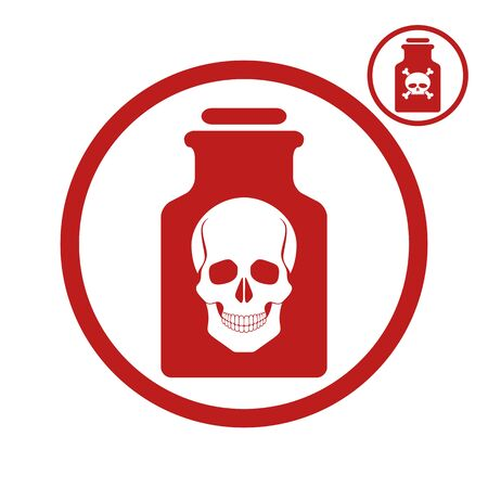 Poison bottle with scull icon, vector illustration.