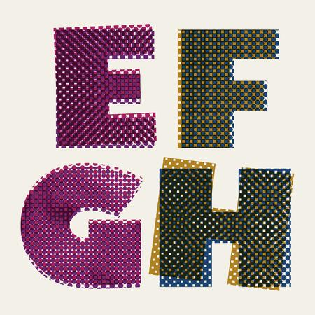 g spot: Halftone dots font, dirty grunge color pixels print texture letters, vector alphabet, letters E F G H.