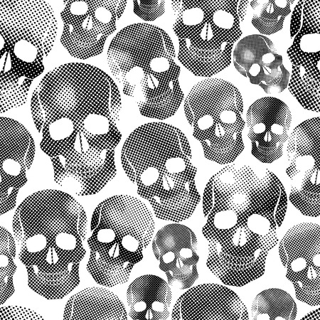 Skulls with halftone print texture seamless background, black and white vector illustration. Vector