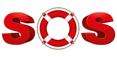 SOS signal with life ring, 3d vector symbol. Stock Illustratie