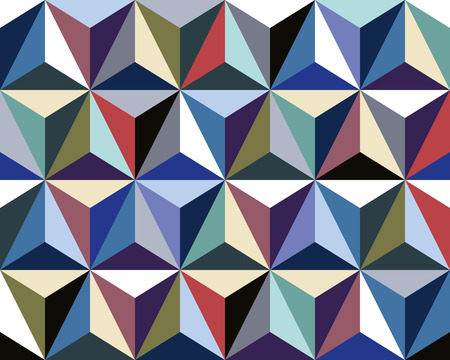 Triangles seamless pattern, colorful 3d vector background.