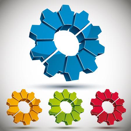 bevel: 3d gear icon vector set.
