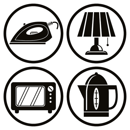 Household appliances icons set, iron, lamp, microwave, teapot. Vector