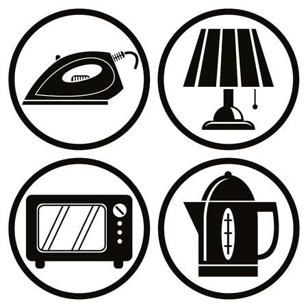 Household appliances icons set, iron, lamp, microwave, teapot. Illustration