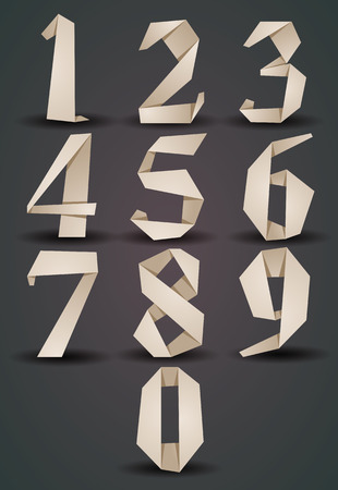 origami numbers: Origami style numbers set, monochrome version, looks best over dark background, vector. Illustration