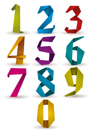 Origami style numbers set, vector.