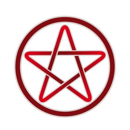 pictogramme: Five point pentagram vector icon.