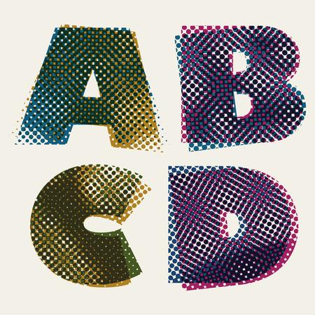 d: Halftone dots font, dirty grunge color pixels print texture letters, vector alphabet, letters A B C D. Illustration
