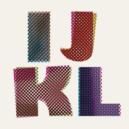 letter k: Halftone dots font, dirty grunge color pixels print texture letters, vector alphabet, letters I J K L.