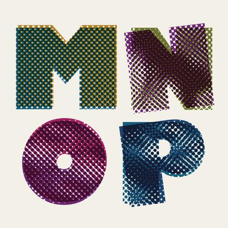 moire: Halftone dots font, dirty grunge color pixels print texture letters, vector alphabet, letters M N O P.
