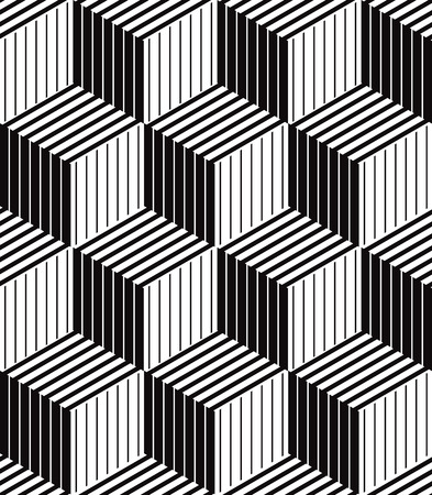 textile design: 3d boxes geometric optical seamless pattern, black and white vector background.
