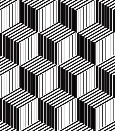 arte optico: Cajas 3d sin patrón óptico geométrico, vector de fondo blanco y negro.