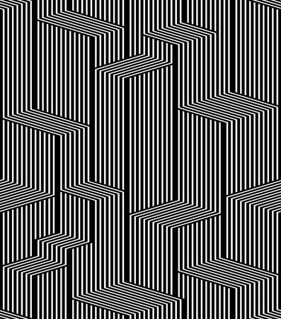 Оптические линии бесшовные модели, город, черно-белый простой геометрический вектор стильный повторите фон.