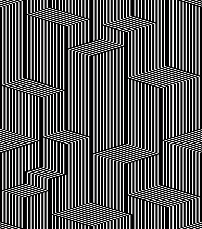 Optical lines seamless pattern, city black and white simple geometric stylish vector repeat background.