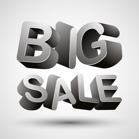 sayings: Big sale lettering made with 3d letters isolated on white background, vector illustration. Illustration