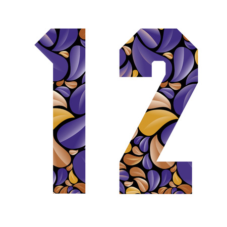 secession: Beautiful floral numbers, vintage style patterned flower petals geometric shaped numerals, bold geometric poster condensed symbols, vector number 1 and number 2.