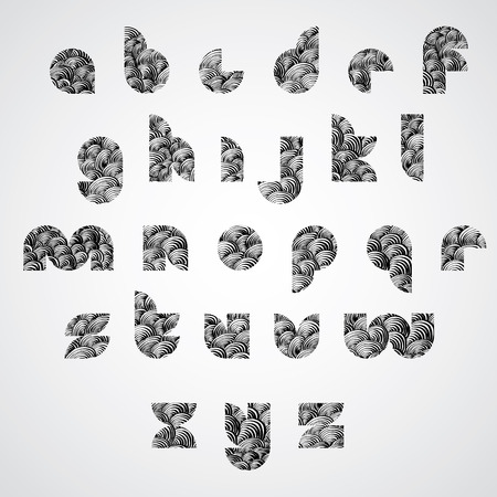 doddle: Simple shape letters digital style font with hand drawn lines pattern, sketch funky doddle style drawing vector alphabet.  Illustration